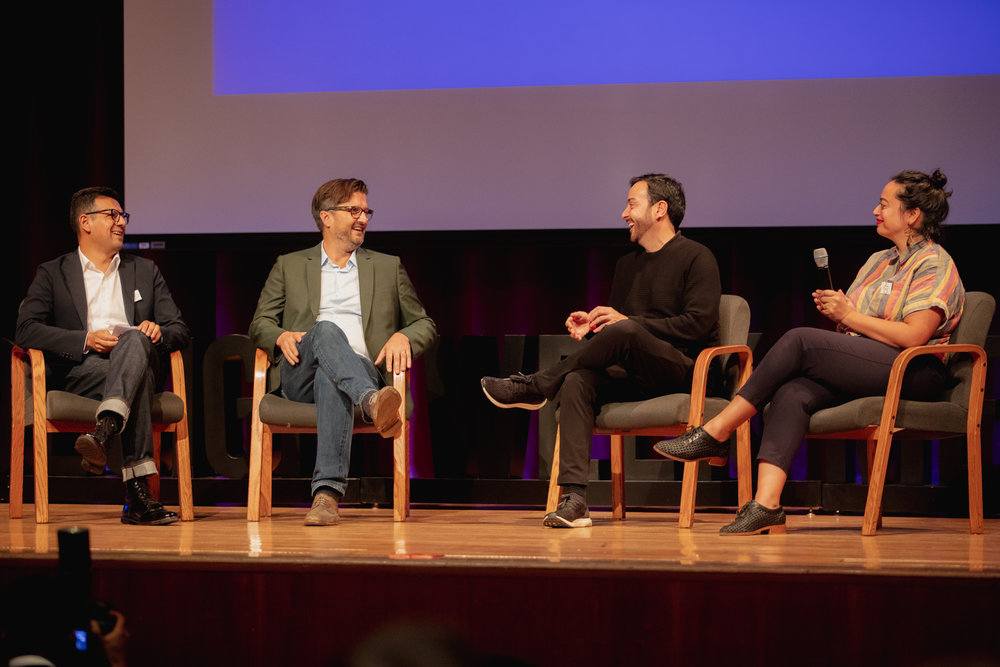 """Be Original Americas' """"Design in the Time of Tariffs"""" panel at Design Week Mexico    From left to right: Antonio Caliz (Principal,    Gensler    ), John Christakos (Founder & CEO,    Blu Dot   ), Emilio Cabrero (Director,    Design Week Mexico   ), Diana Budds (Senior Story Producer,    Curbed   )"""