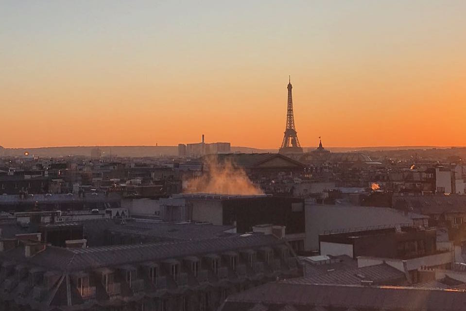 Sunset in Paris from Galeries Lafayette rooftop