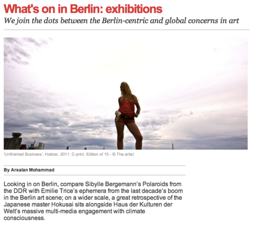 """Time Out Berlin - """"The exhibition brilliantly articulates not only Trice's personal journey over the last few years, but also serves as a penetrating and poignant documentation of an era of optimism and hope in the Berlin art scene."""" Link to article."""