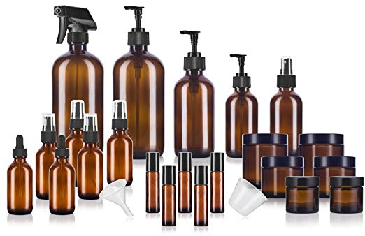 Want to make it super easy and get a bunch of glass bottles in various sizes all at once?  This one is a great value and gives you so much what you you'll need to DIY your own products!