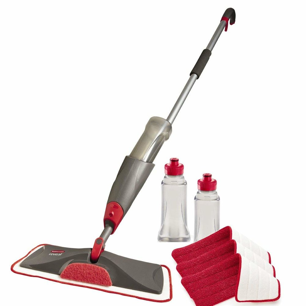 We love using this mop to clean our floors!  Just put a cap of Thieves Household Cleaner and water in the refillable bottle and enjoy SAFE, smell good cleaning of all your hard floor surfaces!