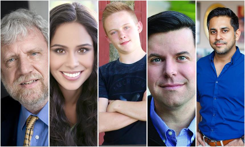 2017 Serious Business Keynote Speakers Anders Ericsson, Kimberly Snyder, Caleb Maddix, Charles Duhigg and Vishen Lakhiani.