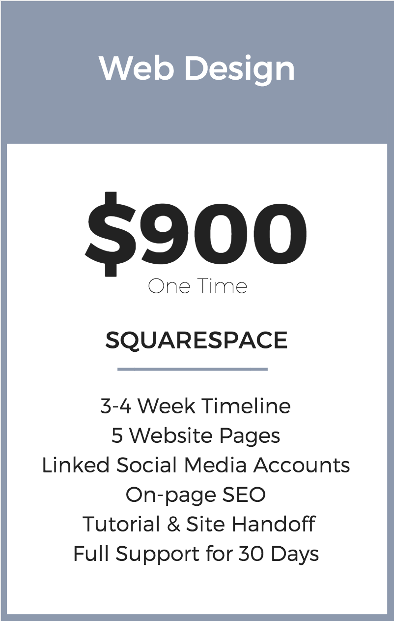 Web Design Pricing | Squarespace | Seattle
