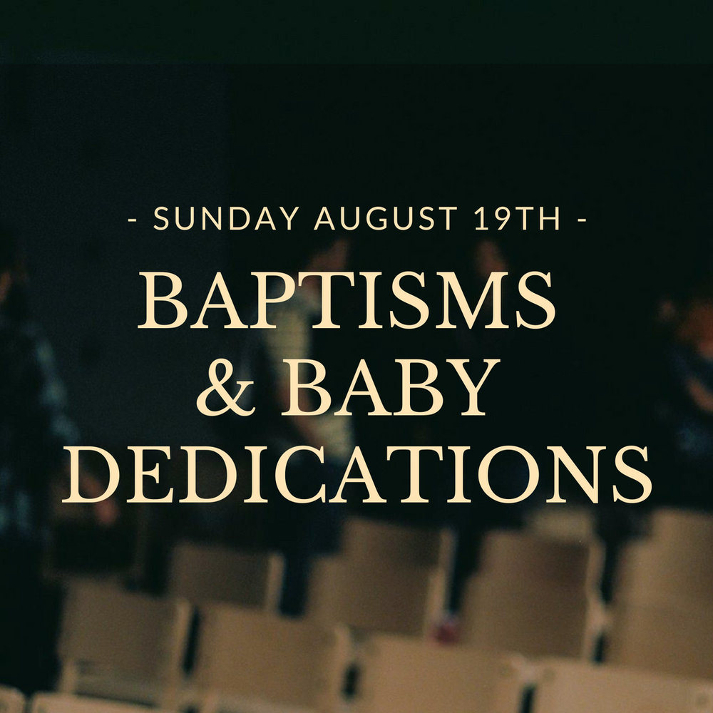 On Aug. 19 during our Sunday gathering, we will be dedicating and even baptizing new babies if the parents desire. If you are the parent of a little one and would like to participate, please email mark@tpd.church. If that date doesn't work for you, we'll be doing it all again the following month on Sept. 30.
