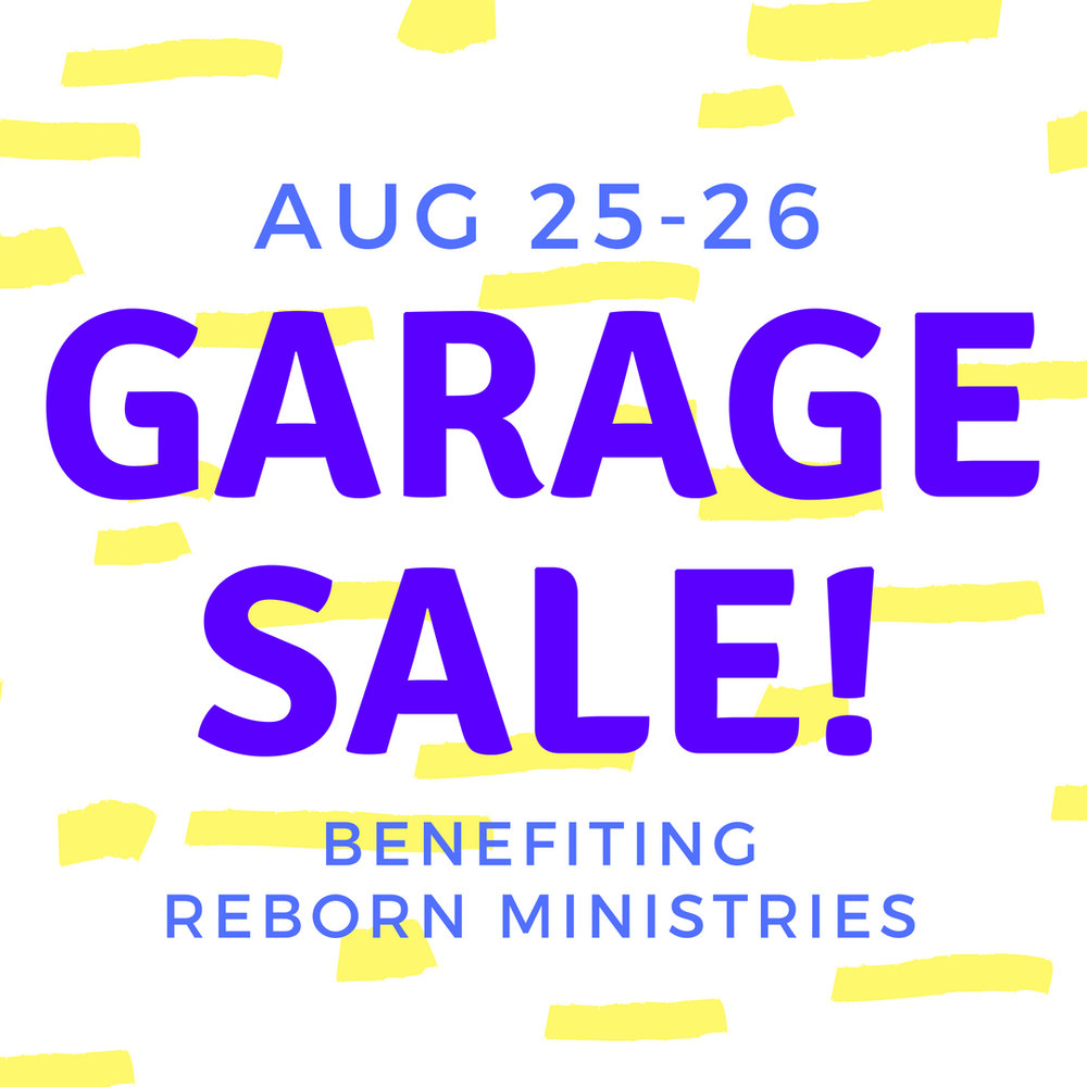 We'll be holding our church garage sale next weekend, Aug. 25-26, to benefit the work of Reborn Ministries in Garfield Park. You can bring items for the sale all this week, Monday through Friday between 10am and noon. Or on Wednesday or Thursday evening, 7pm-9pm. Those are also the time slots when we need volunteers to come help us set up, price items, and make signs. If you have questions, email Madison at info@tpd.church.