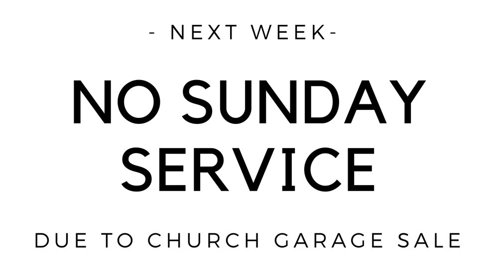 Since we'll be holding the garage sale here this weekend, we won't be having our normal Sunday service. Note: The graphic above mentions next week, but it is  this  week that we will have no Sunday service. But we will be gathering later that Sunday at 5pm at the home of the Cull family for our final all church BBQ of the summer. Help us spread the word. Come shop at the sale in the morning to support Reborn ministries. Come eat at the BBQ in the evening to fellowship with our church family.