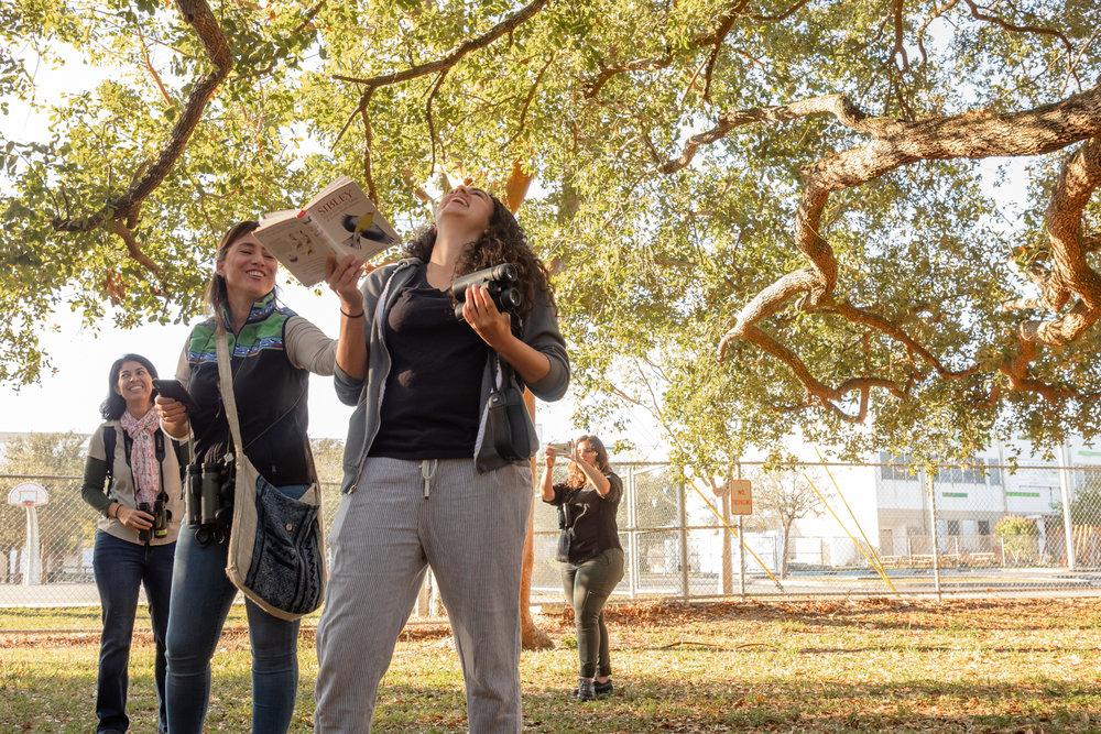 Group leader Eliana (left) & Natalie (right) imitate bird calls.
