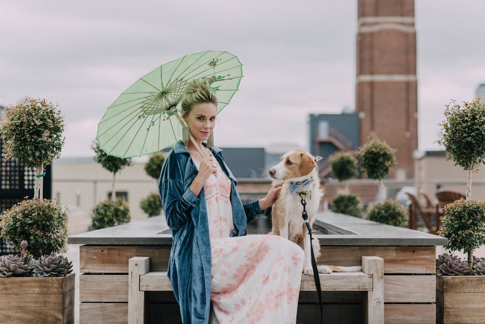 Model: Nikki Kearnes // Clothing: Cliché // Stylist: Zoe Henson // Hair: Katie Steller of  Steller Hair Company // Makeup: Viktoriya Taskayeva // Photography: Jenna Mahr // Bandana on Pierre: Lucy & Co.