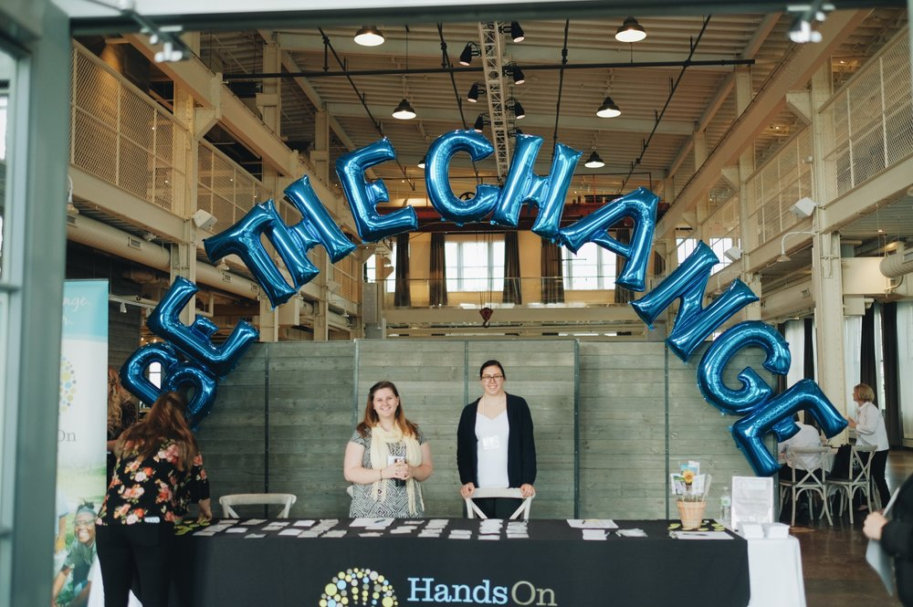 "Thank you  Anagram Balloons  for providing some beautiful balloons for the event! Guests grabbed pictures under the ""Be The Change"" arch upon arrival!  #BeTheChange   #HOTCMN"