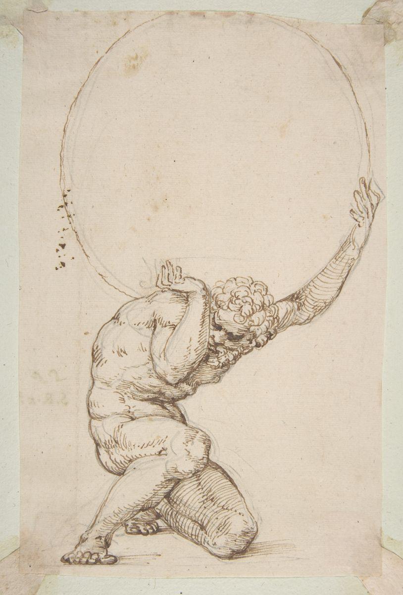 Crouching Figure of Atlas - Baldassare Tommaso Peruzzi (1481-1536)
