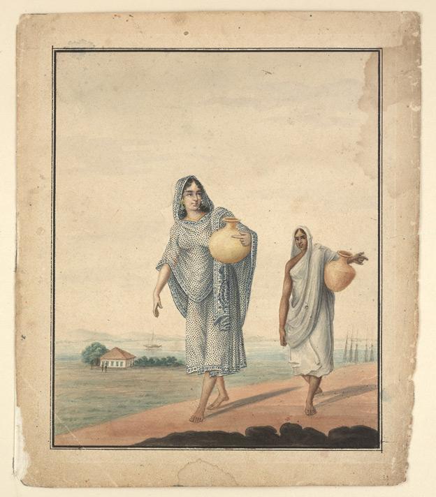 Watercolour of two women carrying water in pots - Bani Lal (c.1850-1901)