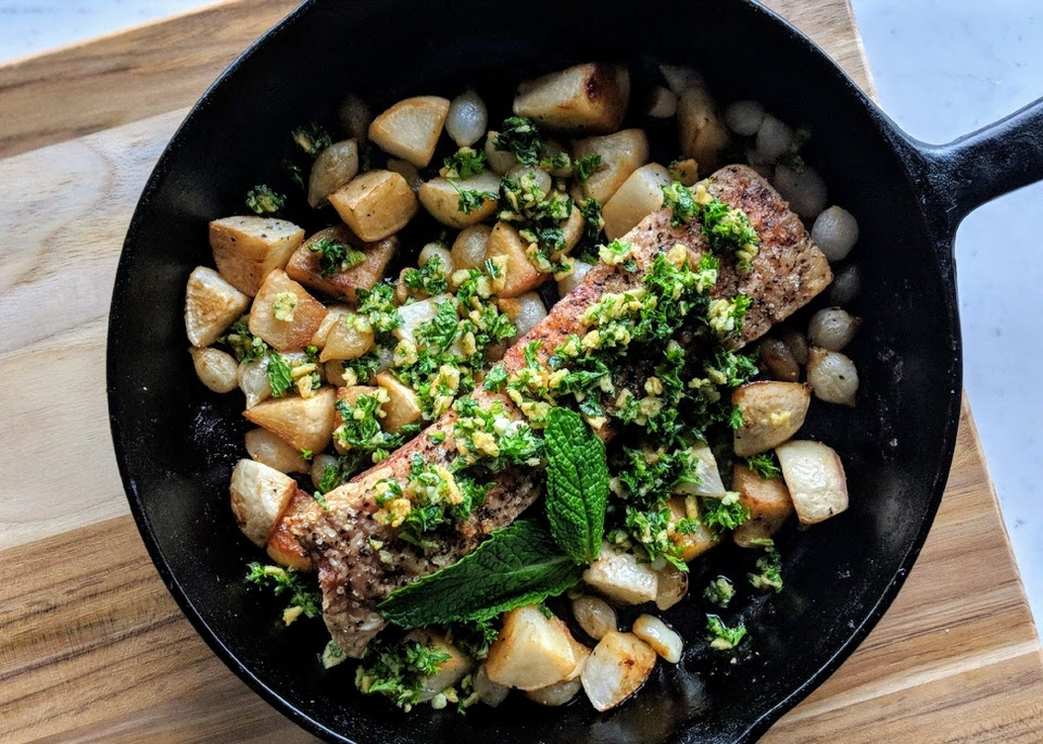 Roasted Pork Belly with Turnips, Pearl Onions, and Mint Gremolata