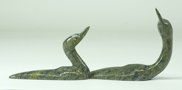 Ningeosiaq AshoonaTwo Loons - 2018serpentinite4 x 10 x 2 inches