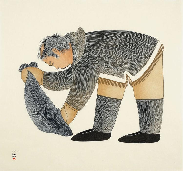 Ningeokuluk TeeveeNatsiniaqti (Seal Hunter) - 2010stonecut & stencil61.5 x 66.5 cm$600