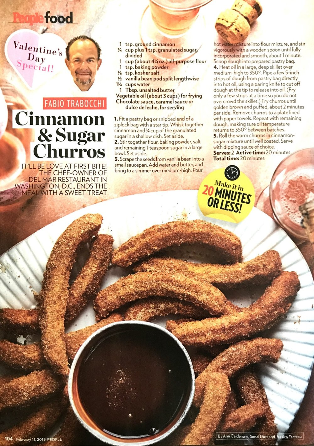 Love at First Bite! Chef Fabio's Churros for Valentine's Day - february 11, 2019 / people magazine
