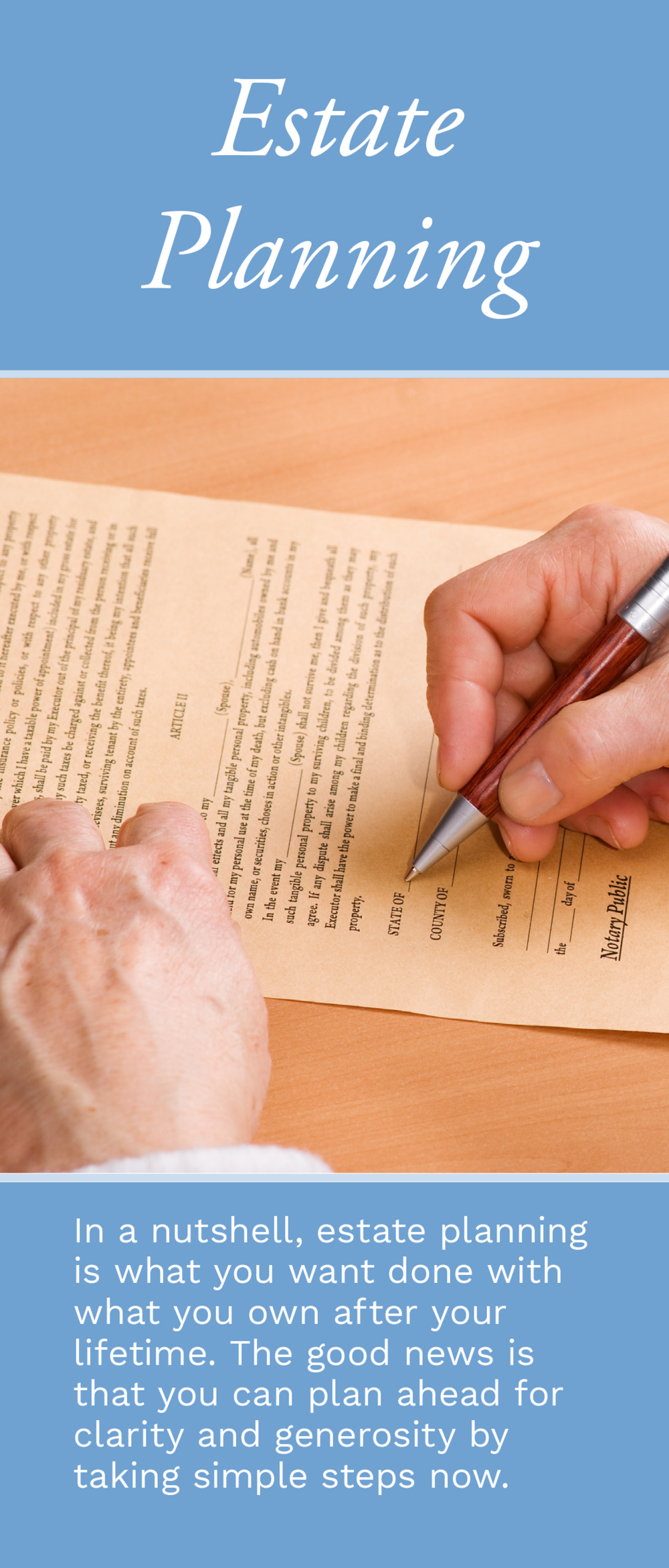 This brochure gives readers a list of questions to consider before meeting with an attorney to have a will written, and provides sample bequest language.