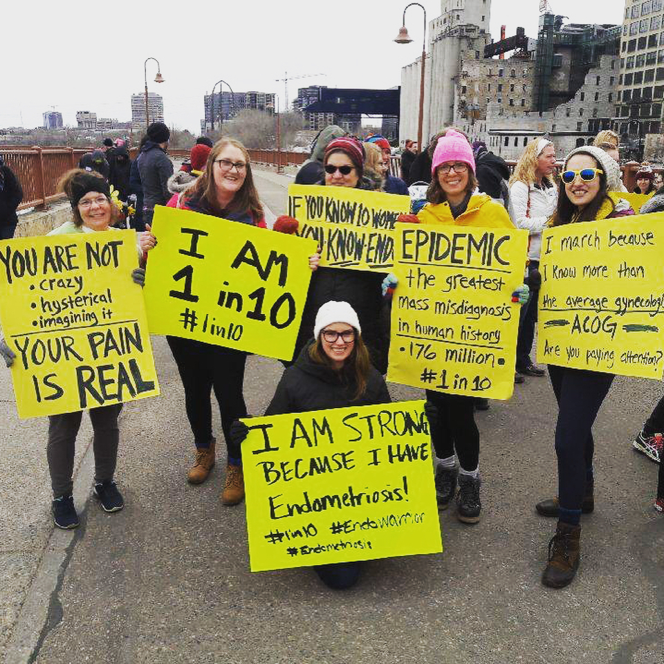DIY Signs - Take a look at the picture to the left of Team Minnesota Endo Warriors, who created such impactful hand-held signs for EndoMarch 2018. Invite a few friends over to make your own signs and then take pictures with your signs and post them on March 30th. Be sure to use hashtags #endometriosis and #endomarch2019 and tag us on Facebook, Instagram, or Twitter, so that we can find your posts! Yellow poster boards can be purchased here on Amazon, and a box of king size sharpies can be purchased here.