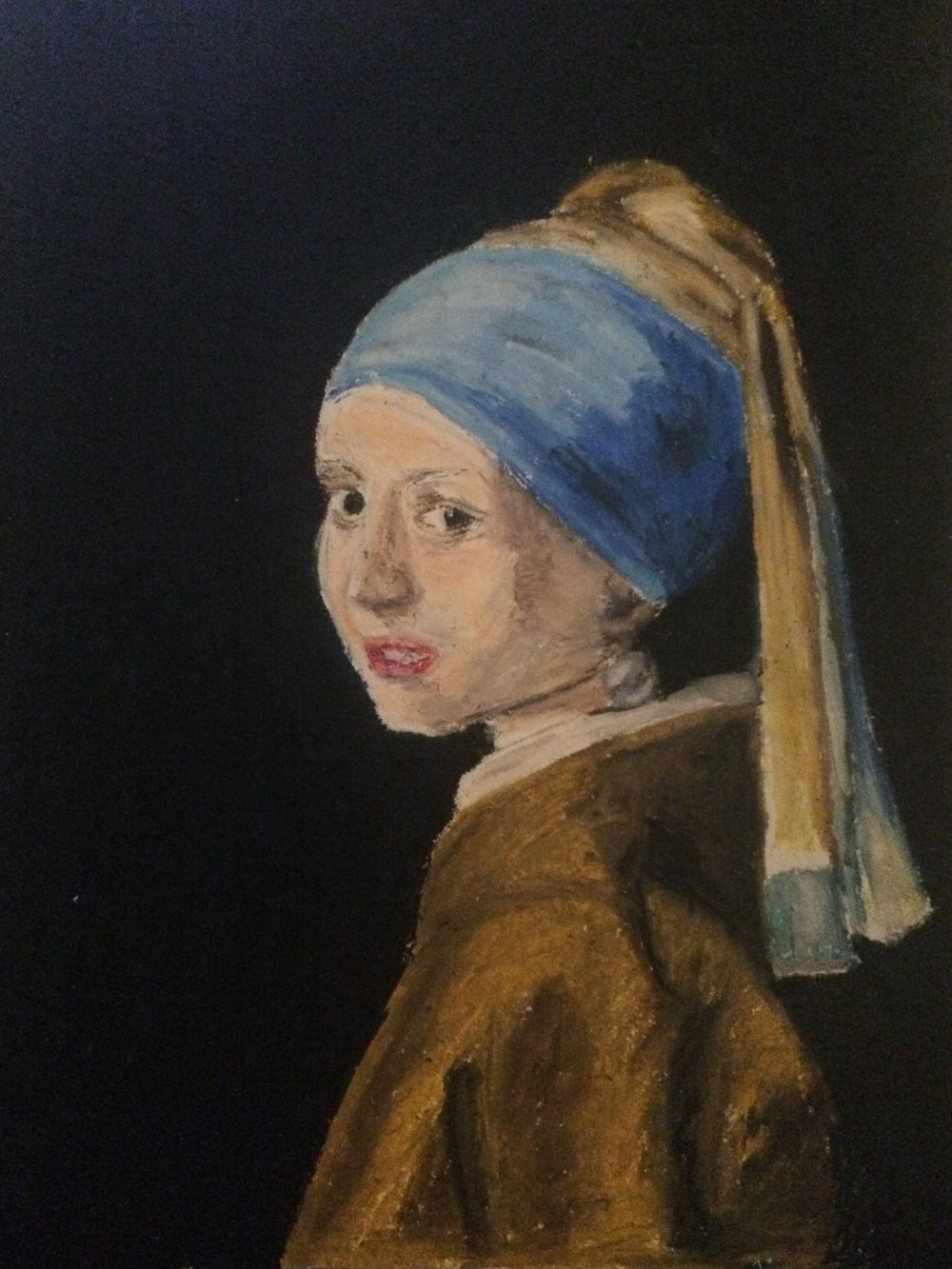 Vermeer's Girl with a Pearl Earring  (Oil Pastel on Paper, 2014)