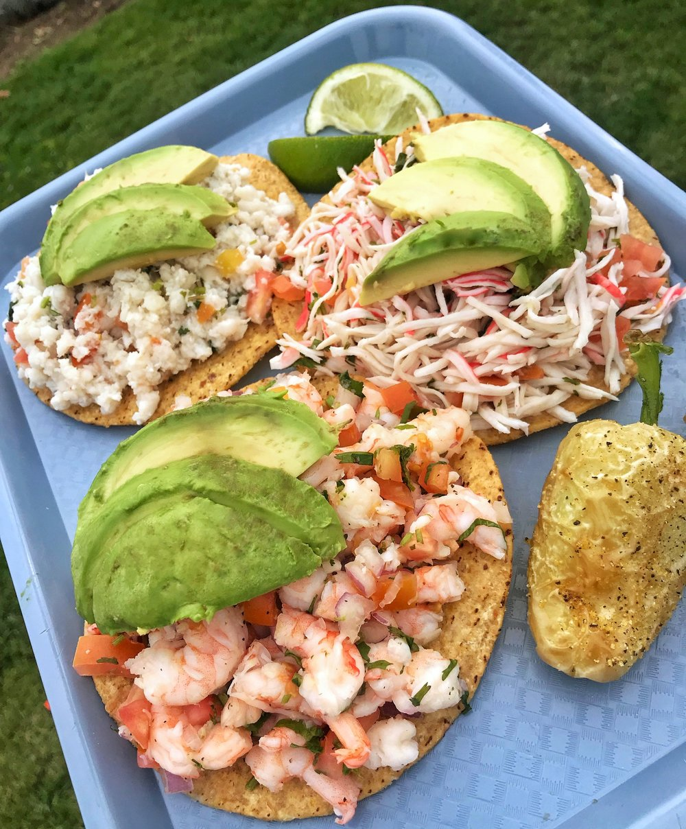Ceviche - -Delicious hand cut fresh shrimp, marinated in fresh squeezed lime juice-Mixed with hand cut onions, tomato, and cilantro-Topped with fresh ripe avocado