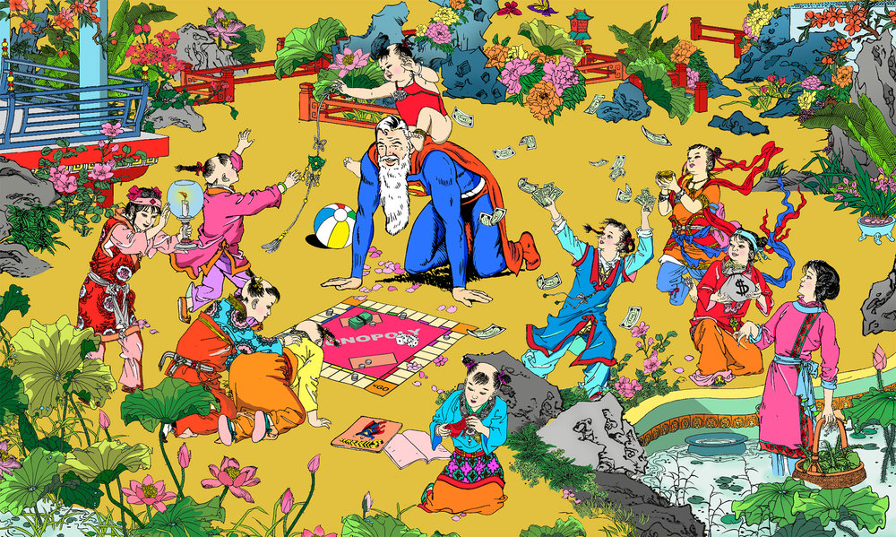 Jacky-Tsai-'The-Retirement'-lacquer-carving-on-wood-panel-70.8-x-42-inches.jpg