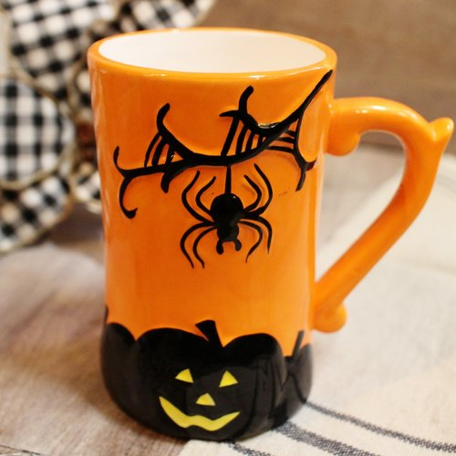 b1e2e6ad101 Spooky Orange Halloween Coffee Mug