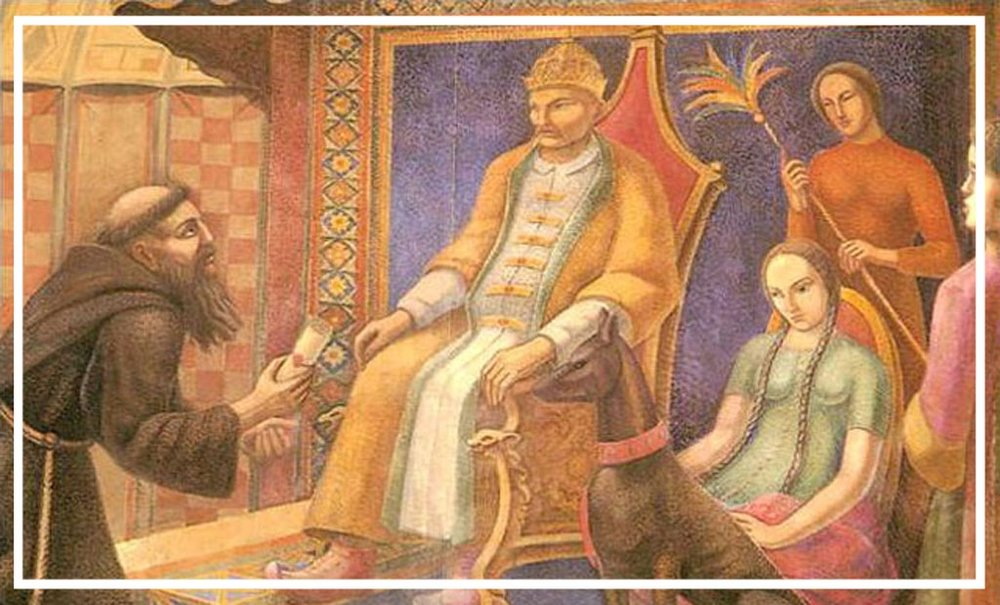 Giovanni di Pian del Carpine appears before Guyuk Khan