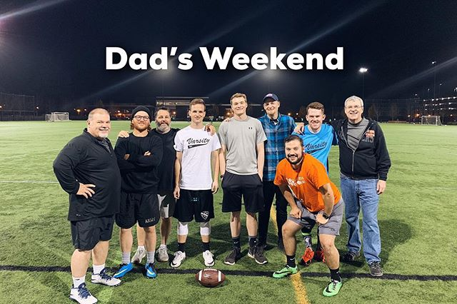 Here's a picture of us cheesin' with a few of the great men we have to thank for who we are today and for showing us what it means to be men of God. —Always a good time when throwing around the old pigskin lol 🐖 🏈. They've also gotten to learn this weekend about JUST. HOW. INCREDIBLE. Steph is at cooking. 😍 #loveher #sheistoogoodtous