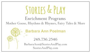 Stories and Play business card designed by Deb Mantel Design