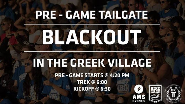 🎉🎉🎉 Get hyped to cheer on the Thunderbirds at the Blackout Tailgate - TOMORROW in the Greek Village 🎉🎉🎉
