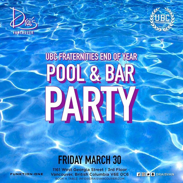 This year we're partnering with Drai's Vancouver (@draisvan) to bring you the biggest pool party in Vancouver - only 10 days away! ————— Early bird tickets are now on sale and going quick! Come through after KSig's Boatracer - you don't want to miss this 💦 // [link in bio/msg your social]