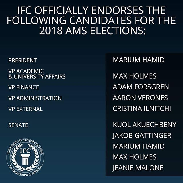 On behalf of the 10 Fraternities at The University of British Columbia, the Inter-Fraternity Council (IFC) would like to endorse the following candidates for the 2018 AMS Elections.