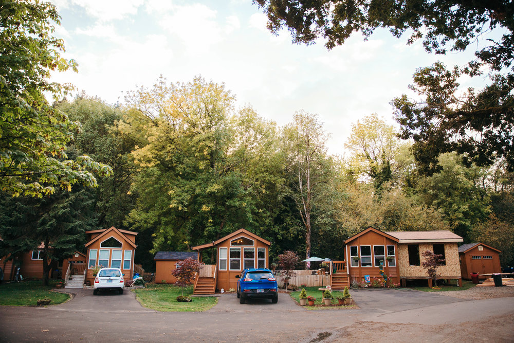 3 Tiny Homes in a Row by Hope Valley Resort
