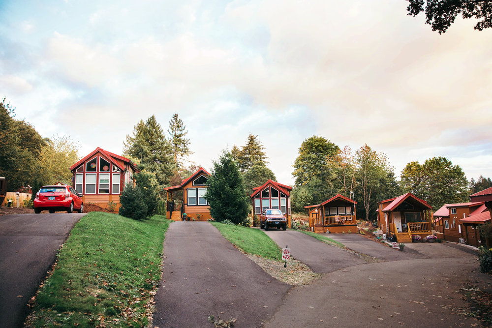 5 Tiny Homes in a Row by Hope Valley Resort