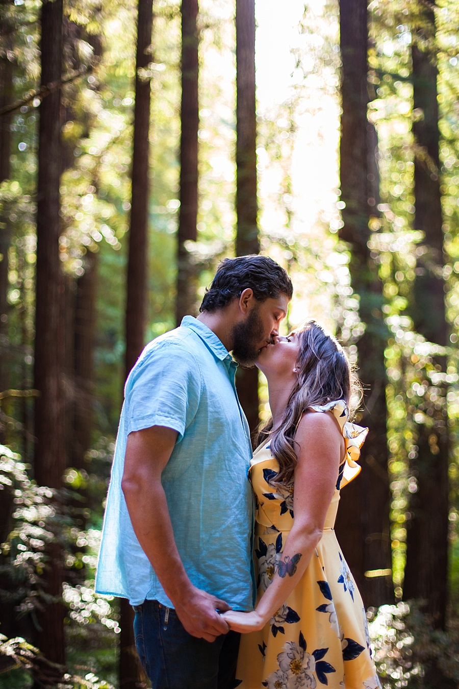 couple in the woods in nature yellow dress  blue shirt call me christine engagement photo santa cruz moutains