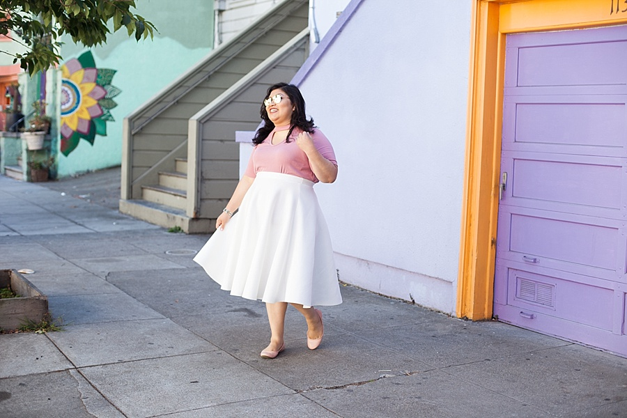 white skirt san francisco blogger colorful purple house pink shirt.jpg