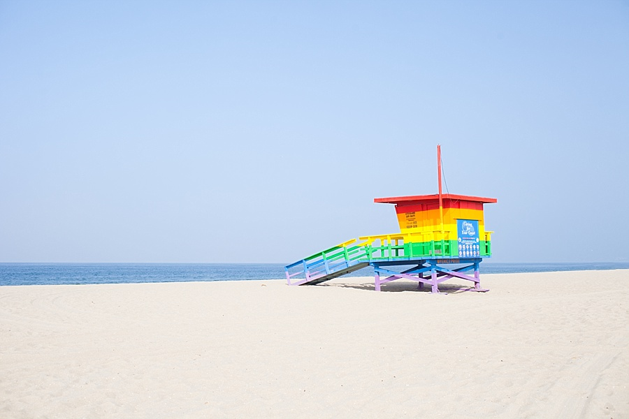 venice beach raibow lifeguard tower