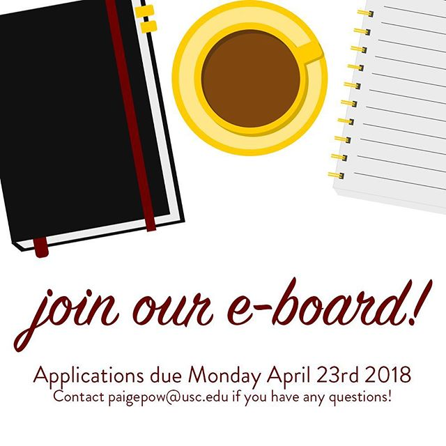 Looking for a fun way to get involved and develop your PR skills, resume, and leadership skills? Look no further, apply to our 2018-2019 E-Board by Monday Apr 23 at 12pm ✌🏼 #linkinbio