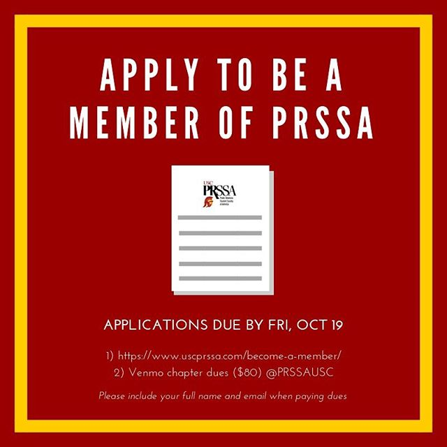 Don't forget to apply to be a member of PRSSA !