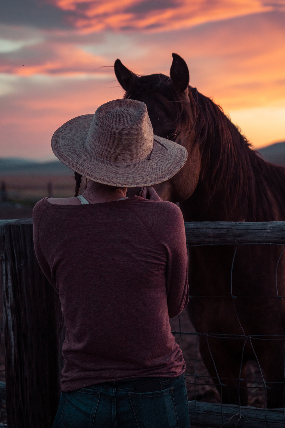 Melissa DiNino and horse at sunset in Montana's Centennial Valley.