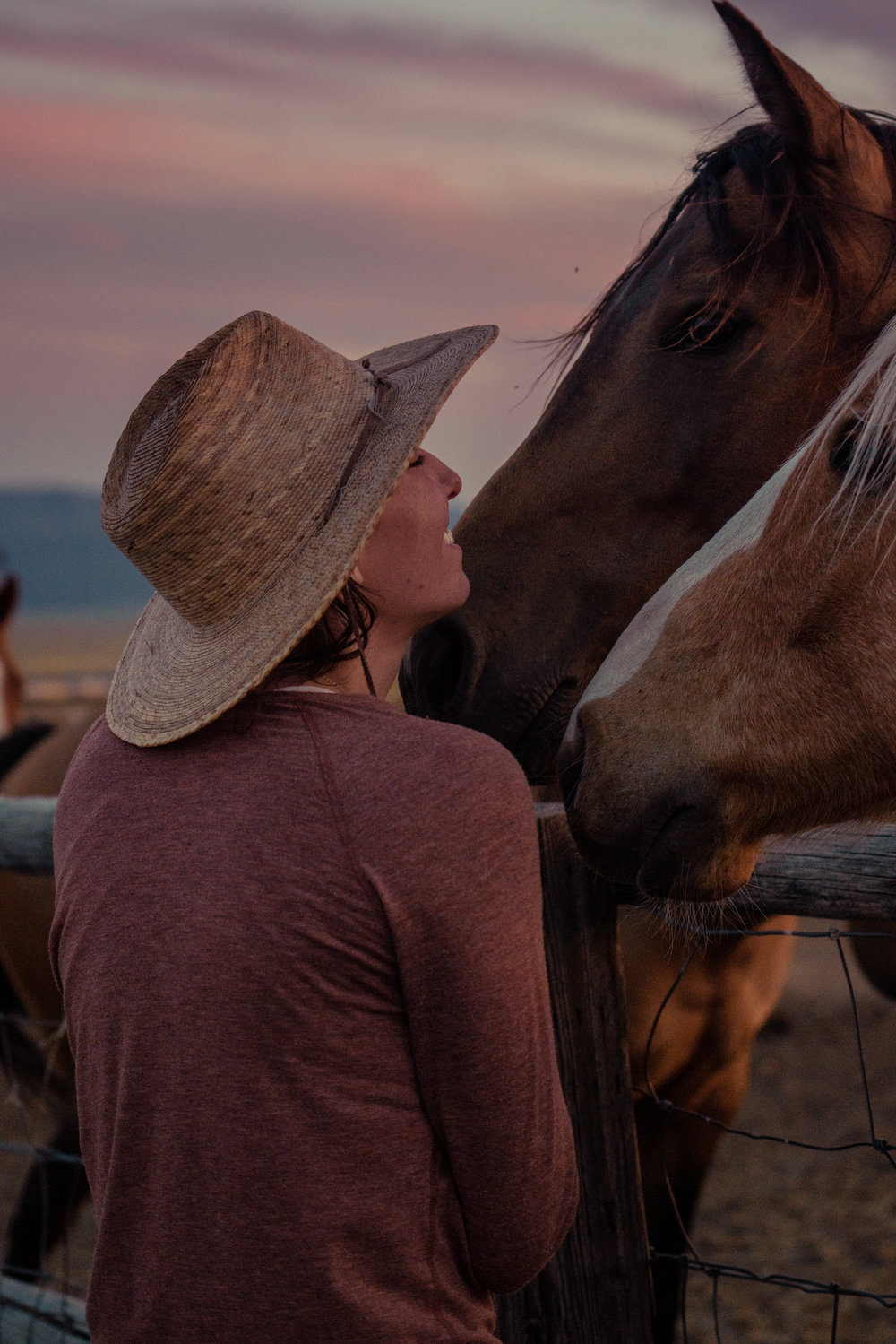 Melissa DiNino and horses at sunset in Montana's Centennial Valley.
