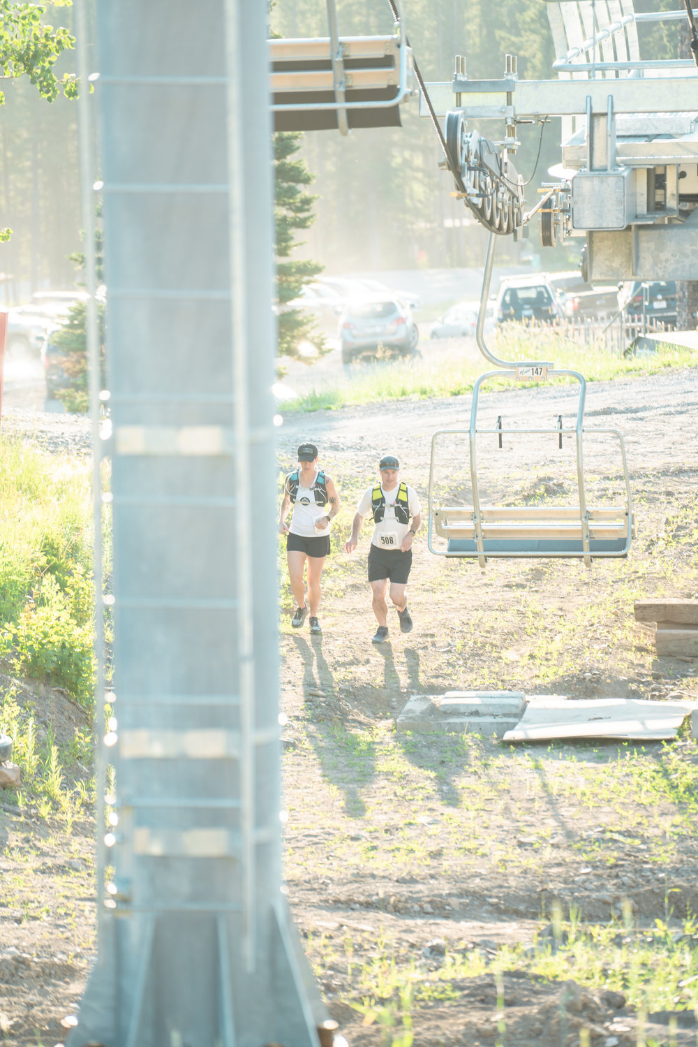 Runners warm up for Bozeman Running Co. racing of Crosscuts at Bridger Bowl just north of Bozeman, Montana.