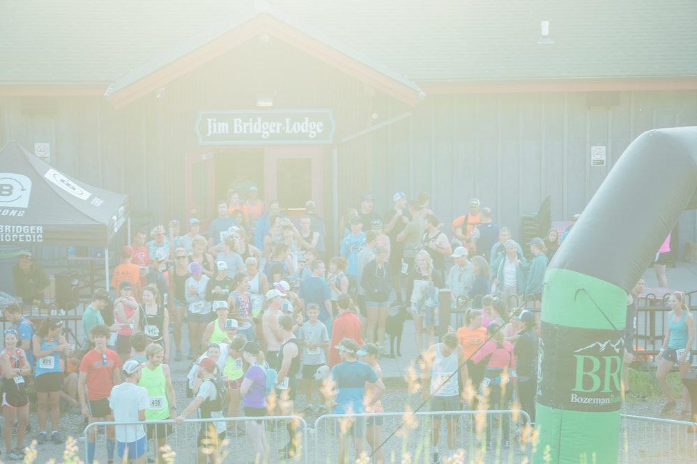 Runners wait Bozeman Running Co. to start the racing of Crosscuts at Bridger Bowl just north of Bozeman, Montana.