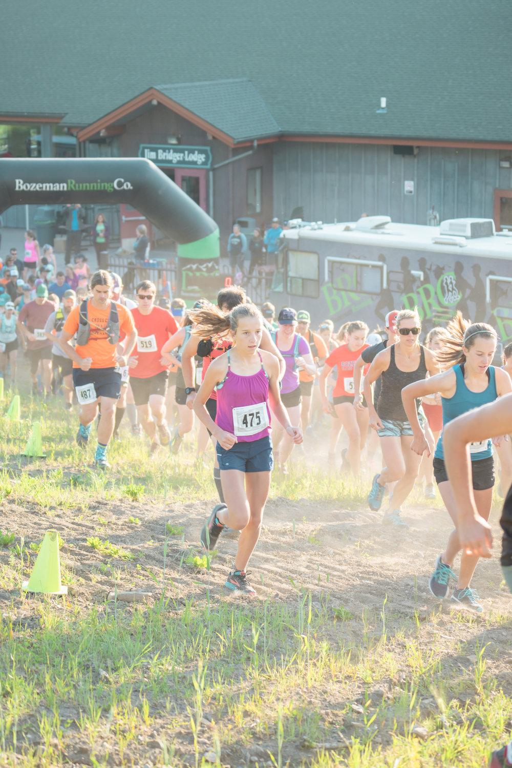 Runners start Bozeman Running Co. racing of Crosscuts at Bridger Bowl just north of Bozeman, Montana.