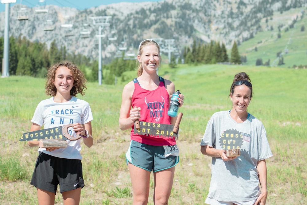 Runners getting their reward at Bozeman Running Co. racing of Crosscuts at Bridger Bowl just north of Bozeman, Montana.