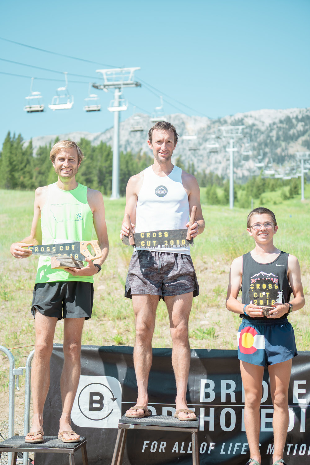 Runners getting their reward at Bozeman Running Co. racing of Crosscuts at Bridger Bowl just north of Bozeman, Montana. Includes the Mountain Project's Mike Wolfe.