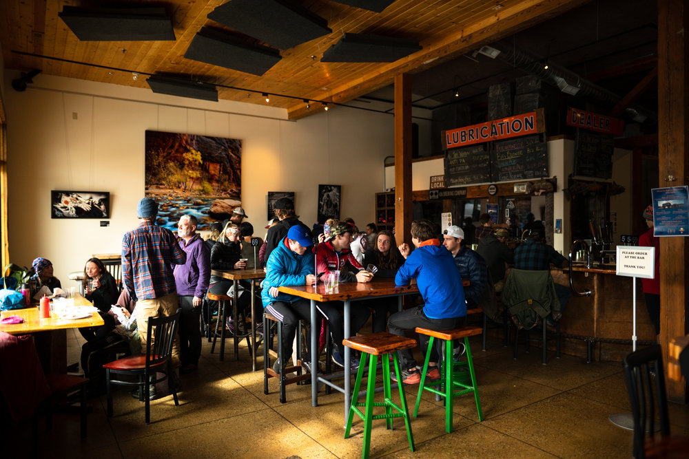 Runners enjoy beer at 406 Brewing Co. after Bozeman Running Co. racing of the Foothills 14k up Sypes Canyon.