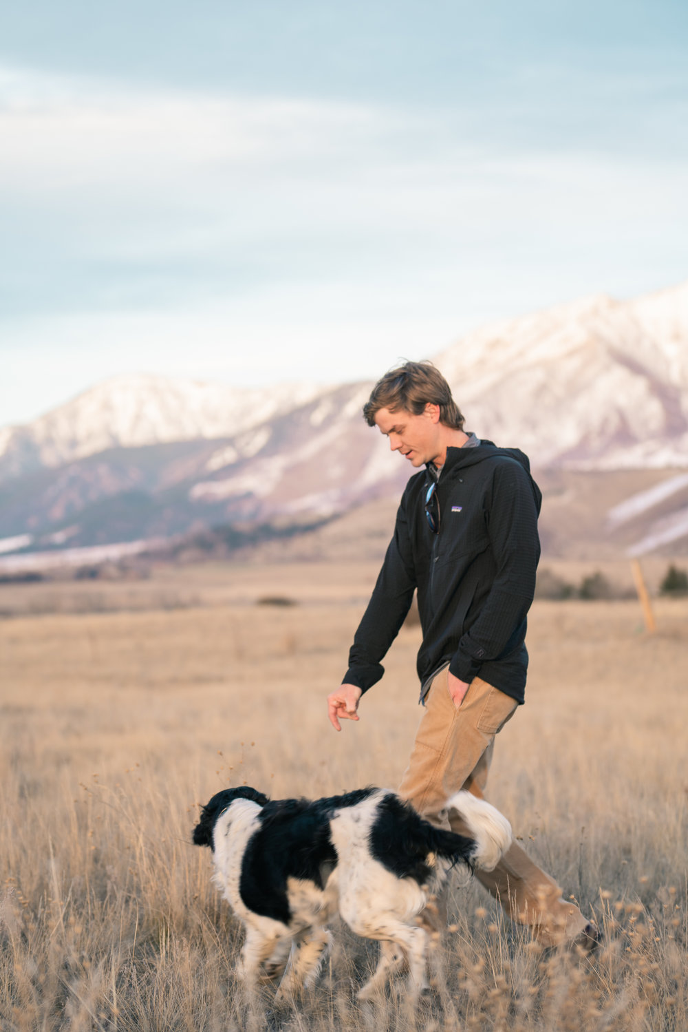 Fran Clougherty and his dog in Paradise Valley, Montana.