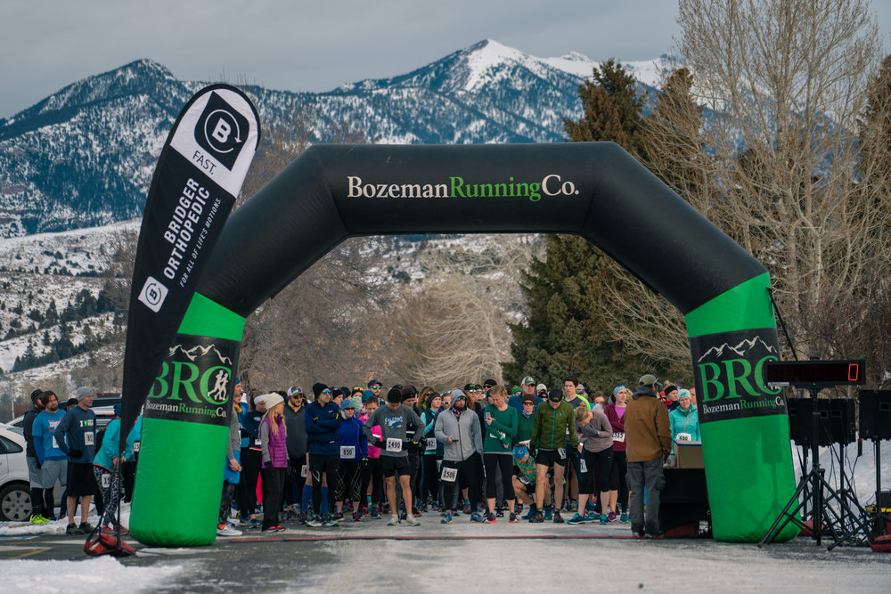 The starting line before Bozeman Running Co.'s racing of the Bear near Bozeman, Montana.