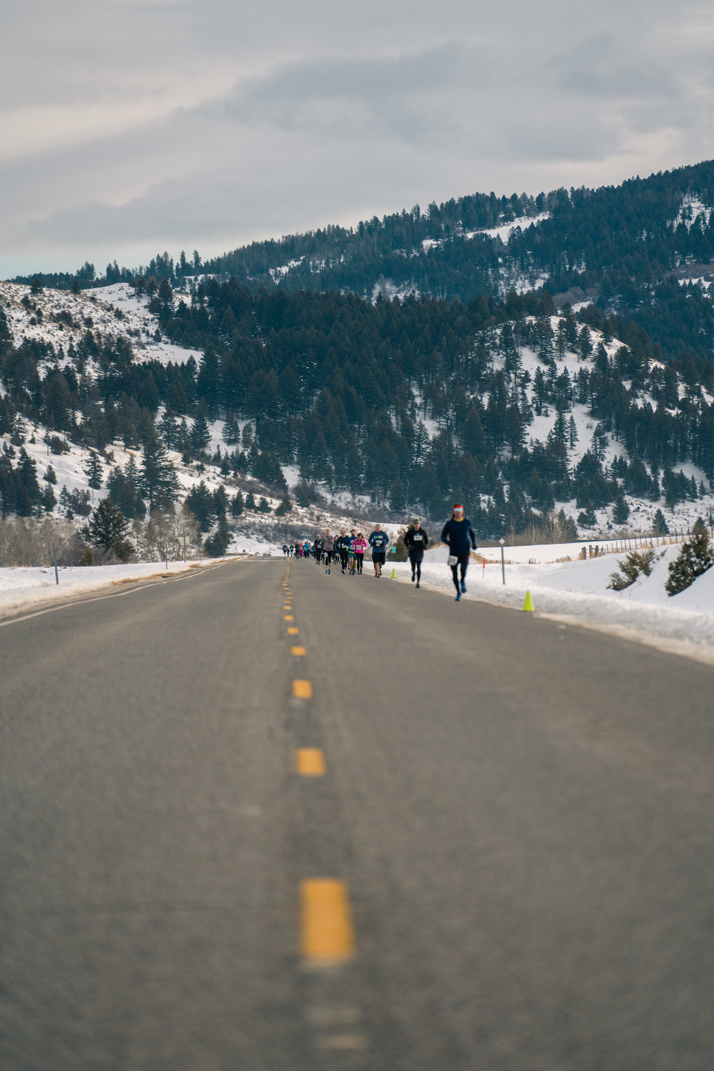 Striding it out on Frontage Road during Bozeman Running Co.'s racing of the Bear near Bozeman, Montana.