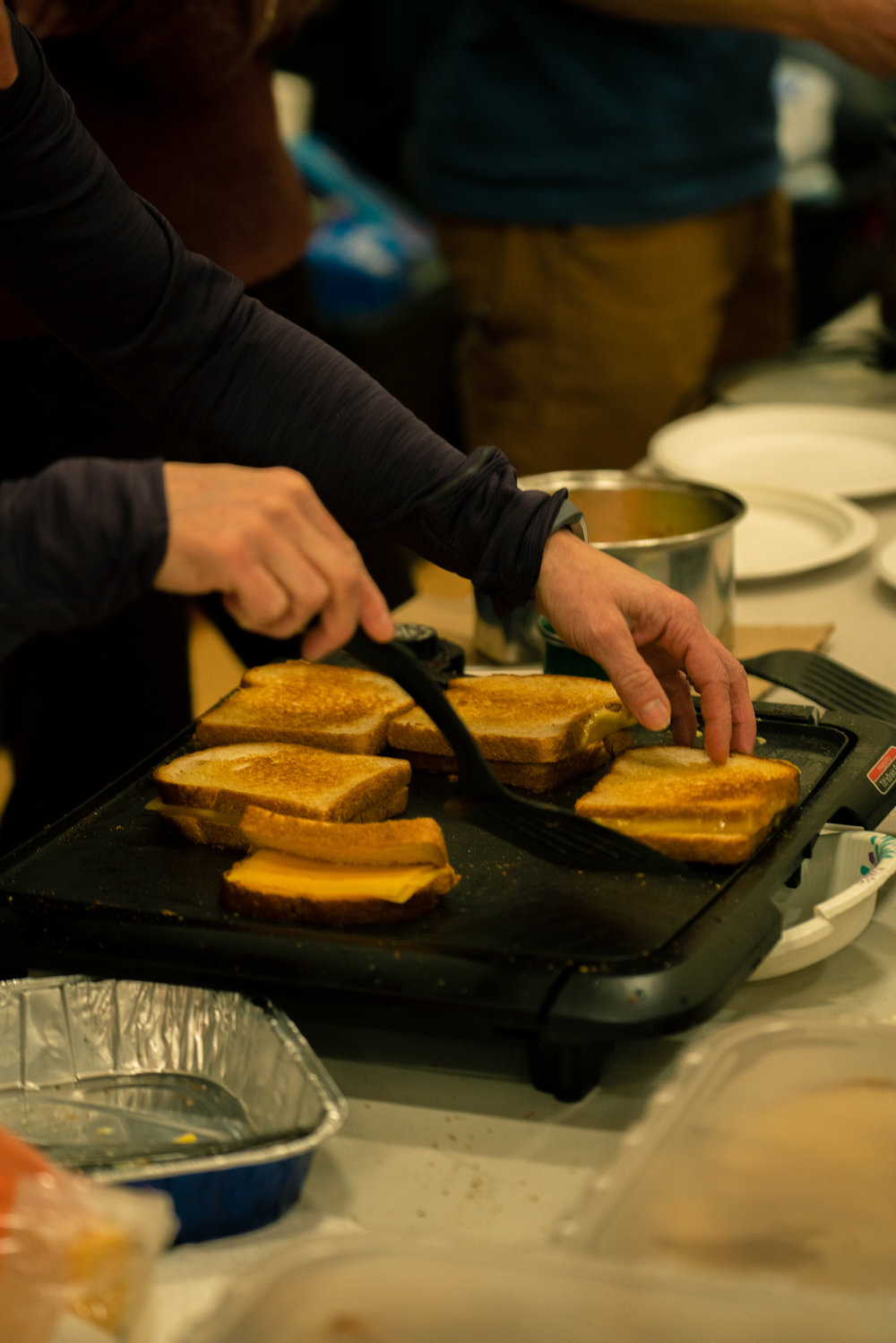 Grilled cheese after Bozeman Running Co.'s racing of the Bear near Bozeman, Montana.